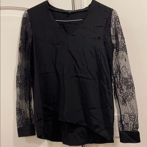 Tibi Black Silk Top with Lace Sleeves